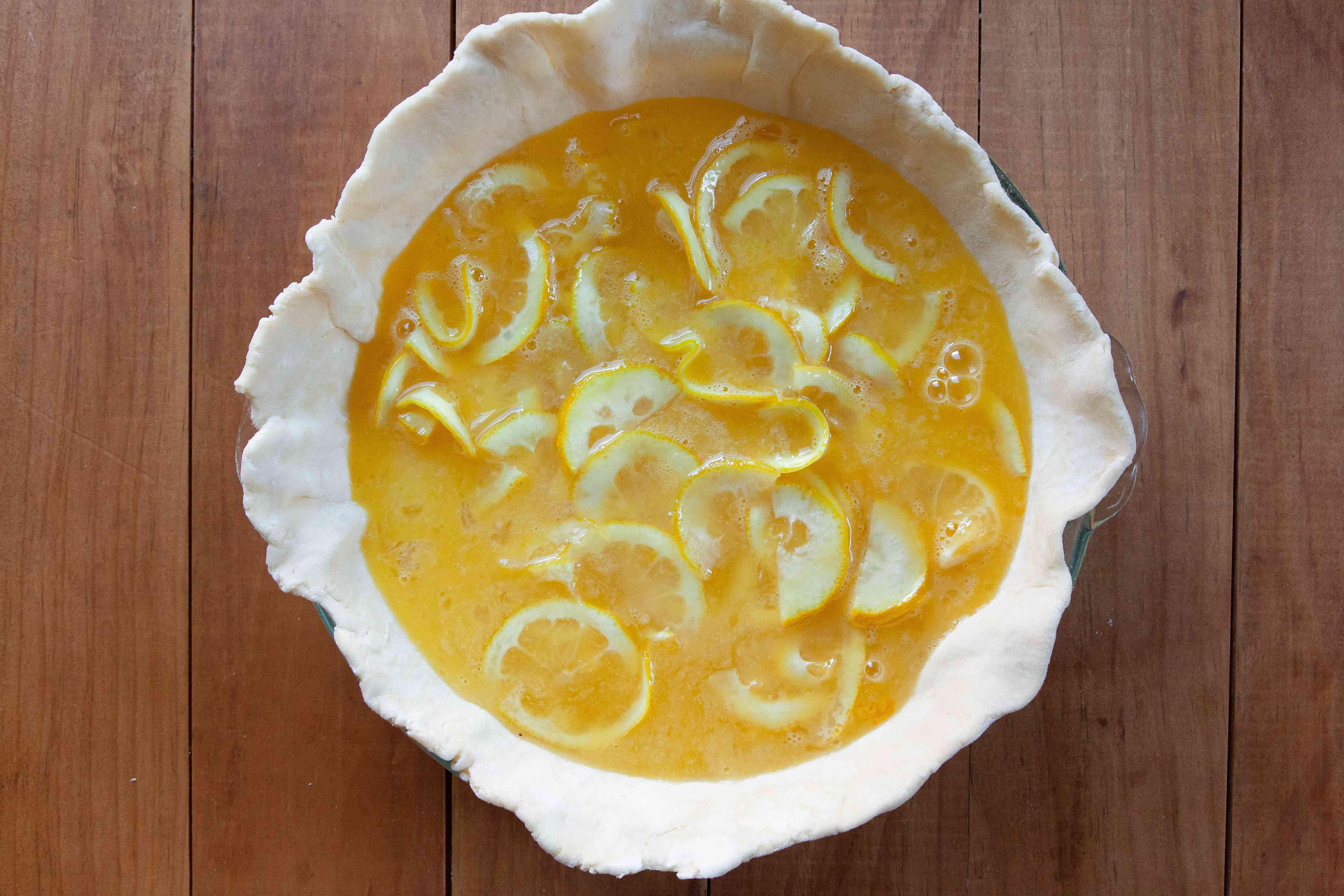 Shaker Lemon Pie filling in an unbaked pie crust.