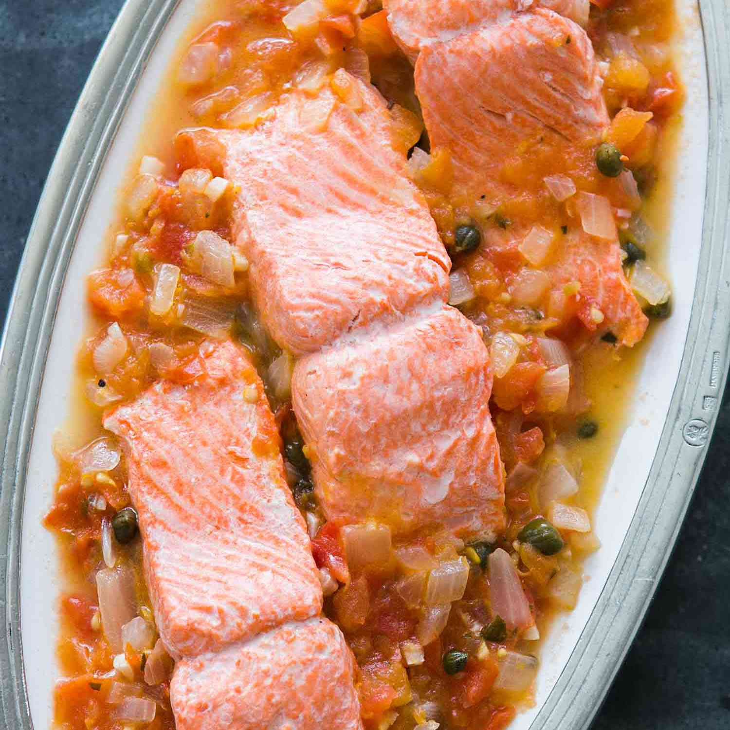 Salmon with Tomatoes, Onions, Capers