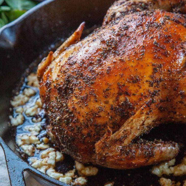 Mediterranean Roast Chicken in cast iron skillet