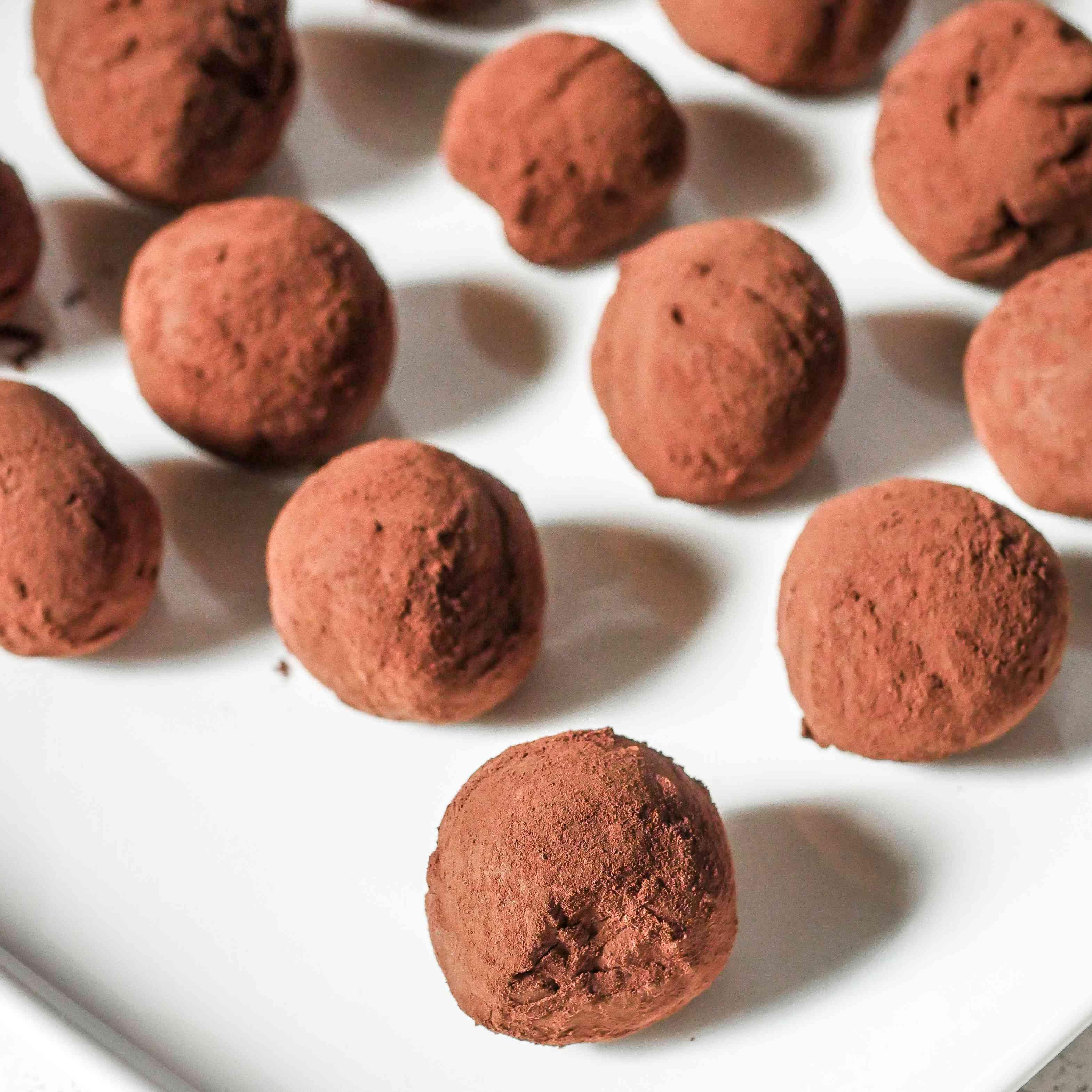 Chocolate Truffles with Irish Whiskey on a platter.