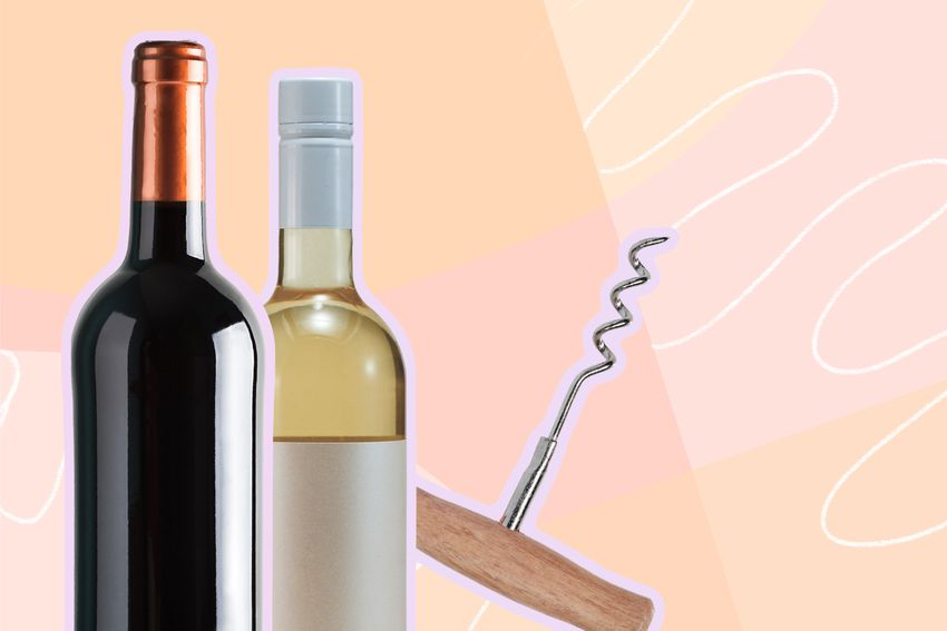 Photo composite of a bottle of red wine, a bottle of white wine, and a corkscrew