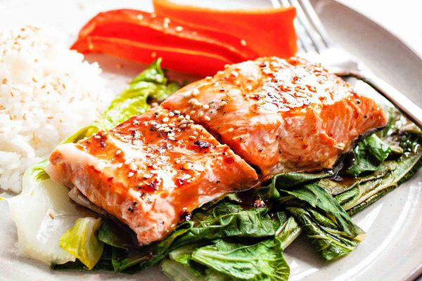 Steamed Ginger Salmon with Maple Sauce