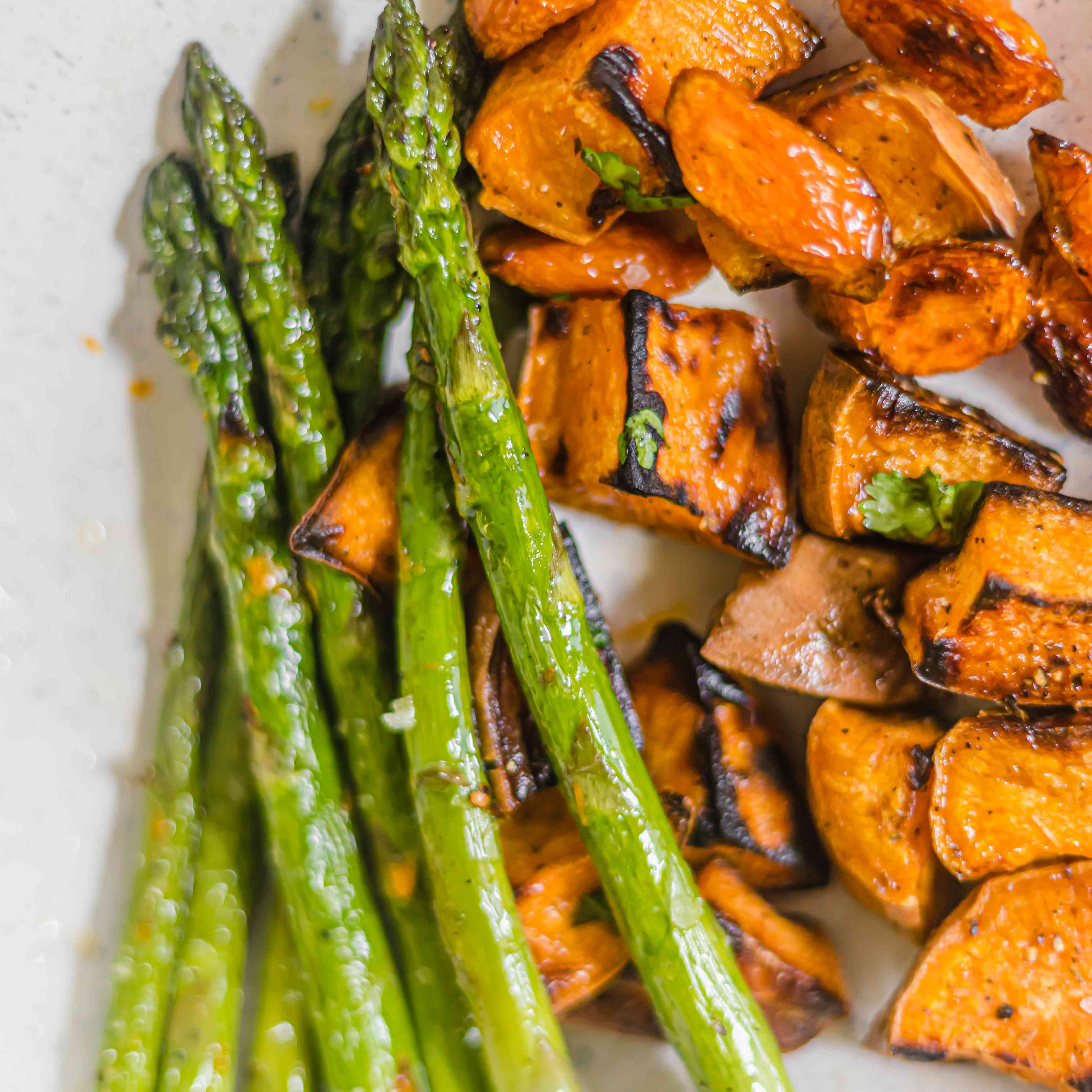 Roasted asparagus and sweet potatoes