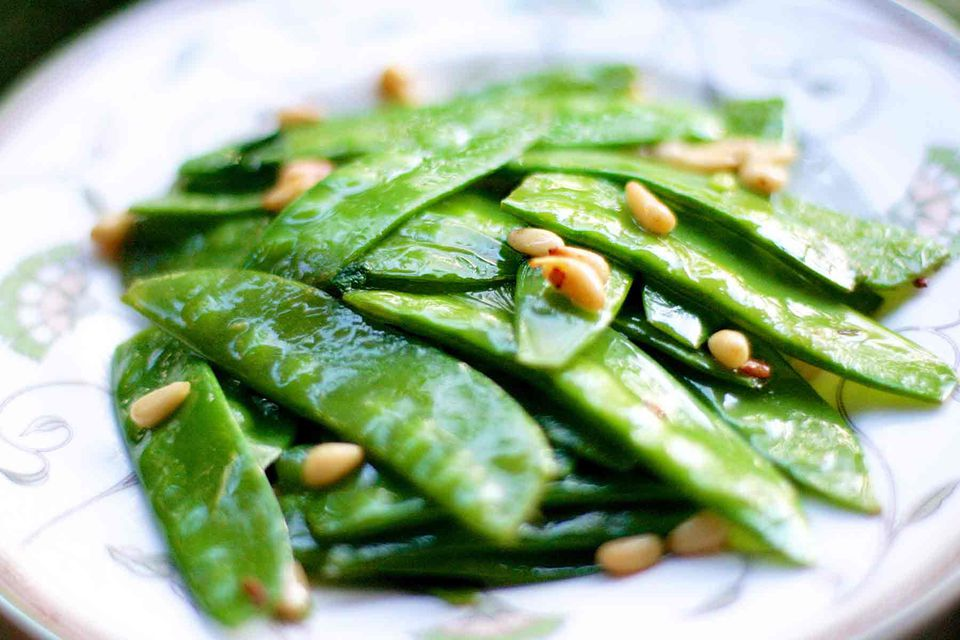 sautéed Snow Peas with pine nuts and mint