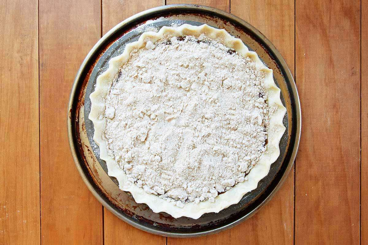 Easy shoofly pie unbaked and crumb topped.
