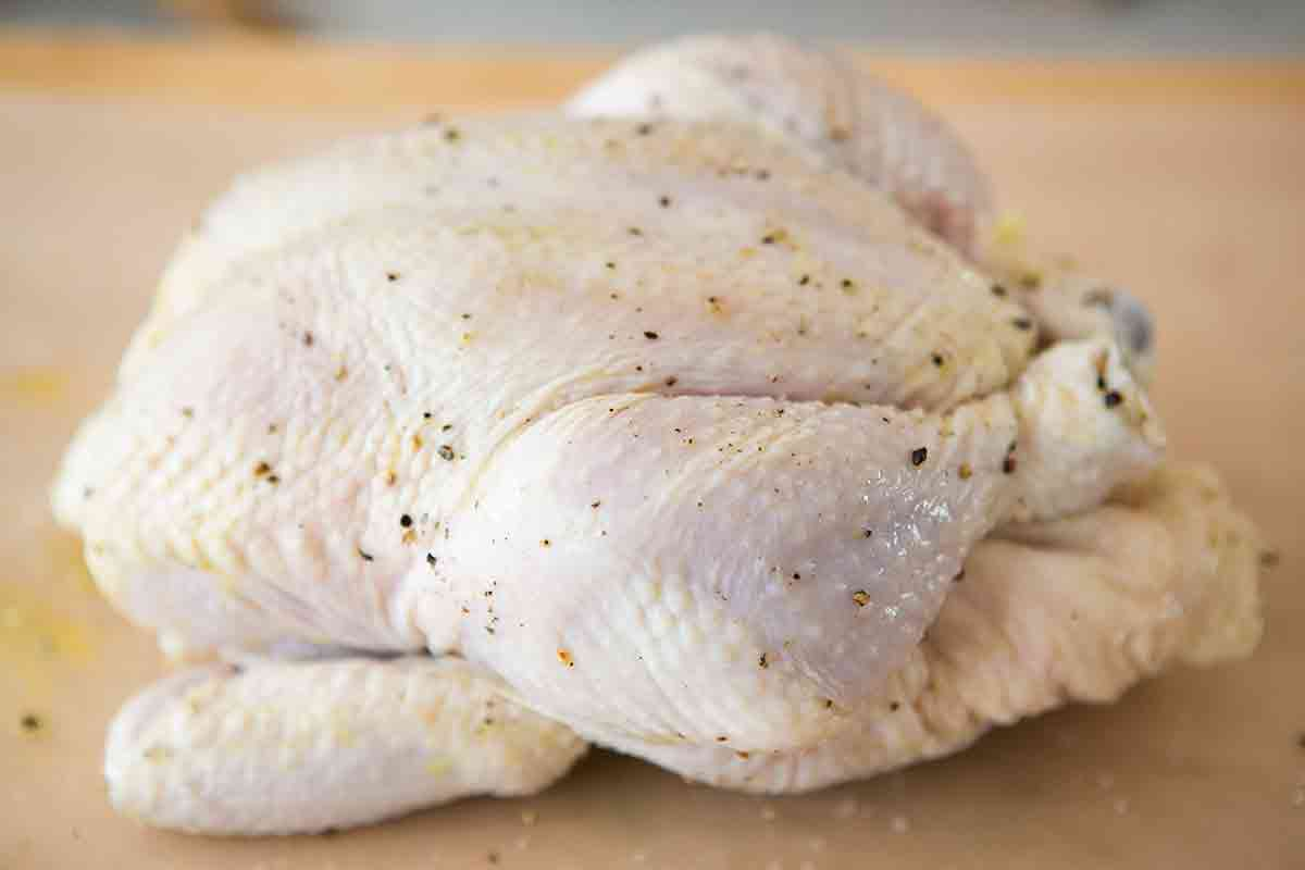 whole chicken ready to be roasted