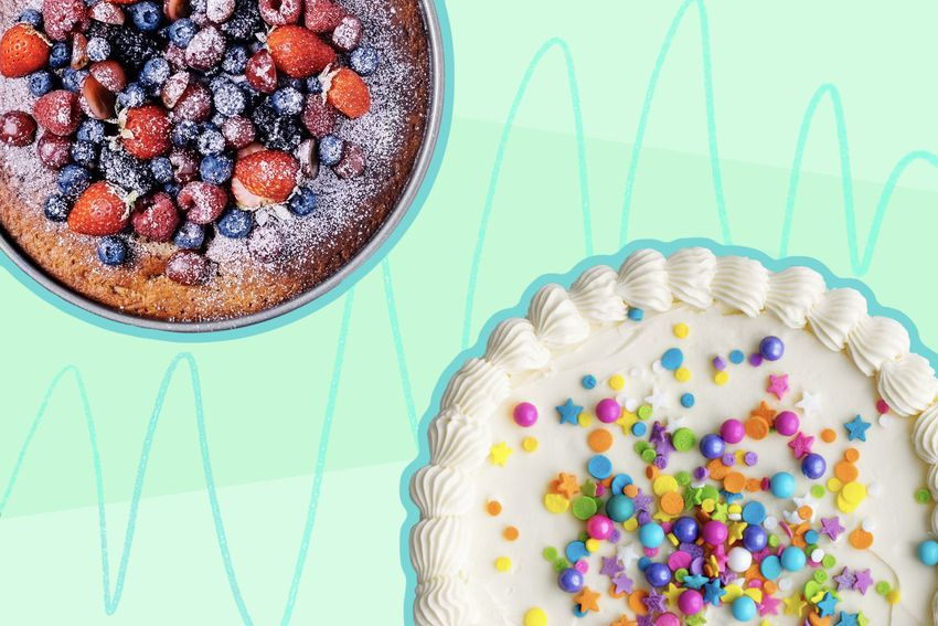 Photo composite of a fruit cake and an iced cake with sprinkles