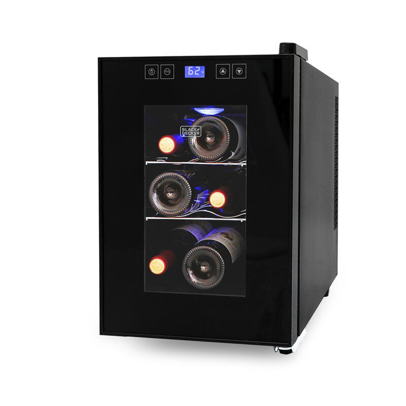 The BLACK+DECKER BD60016 9.7 in. Wide 6-Bottle Capacity Wine Cellar is the perfect option for small spaces.