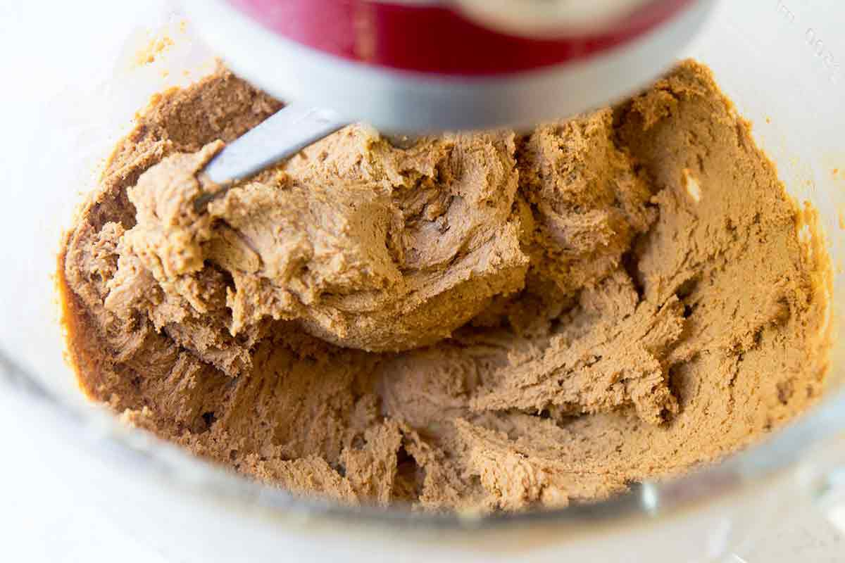 Gingerbread Man Cookie Dough In Mixing Bowl
