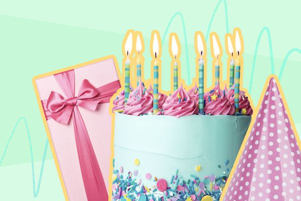 photo composite of a birthday cake, wrapped gift and party hat