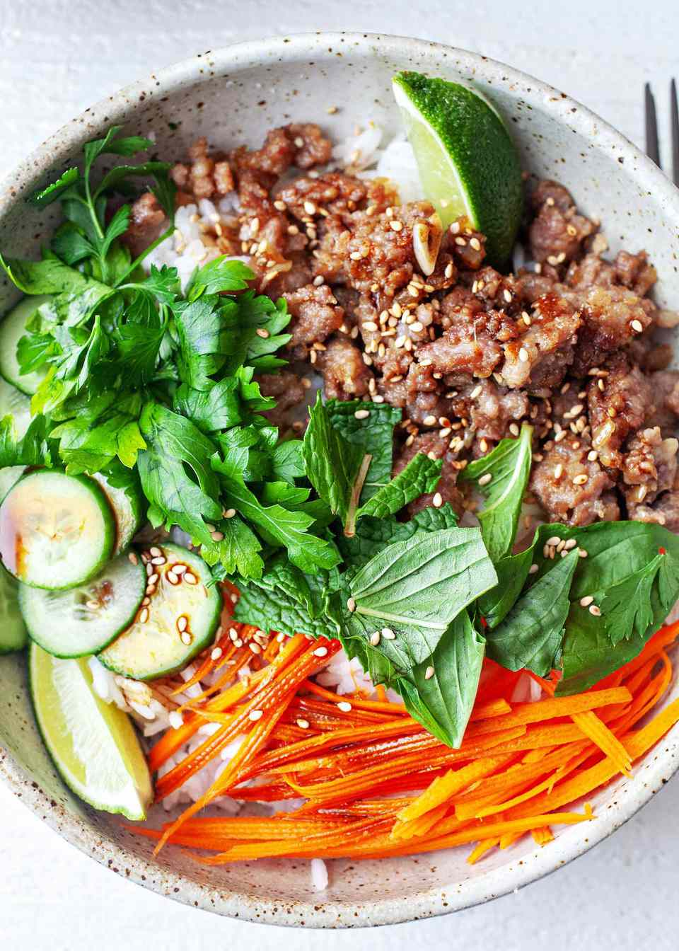 Easy Rice Bowl Recipe with Pork - ceramic bowl with cooked pork herbs carrots and cucumbers