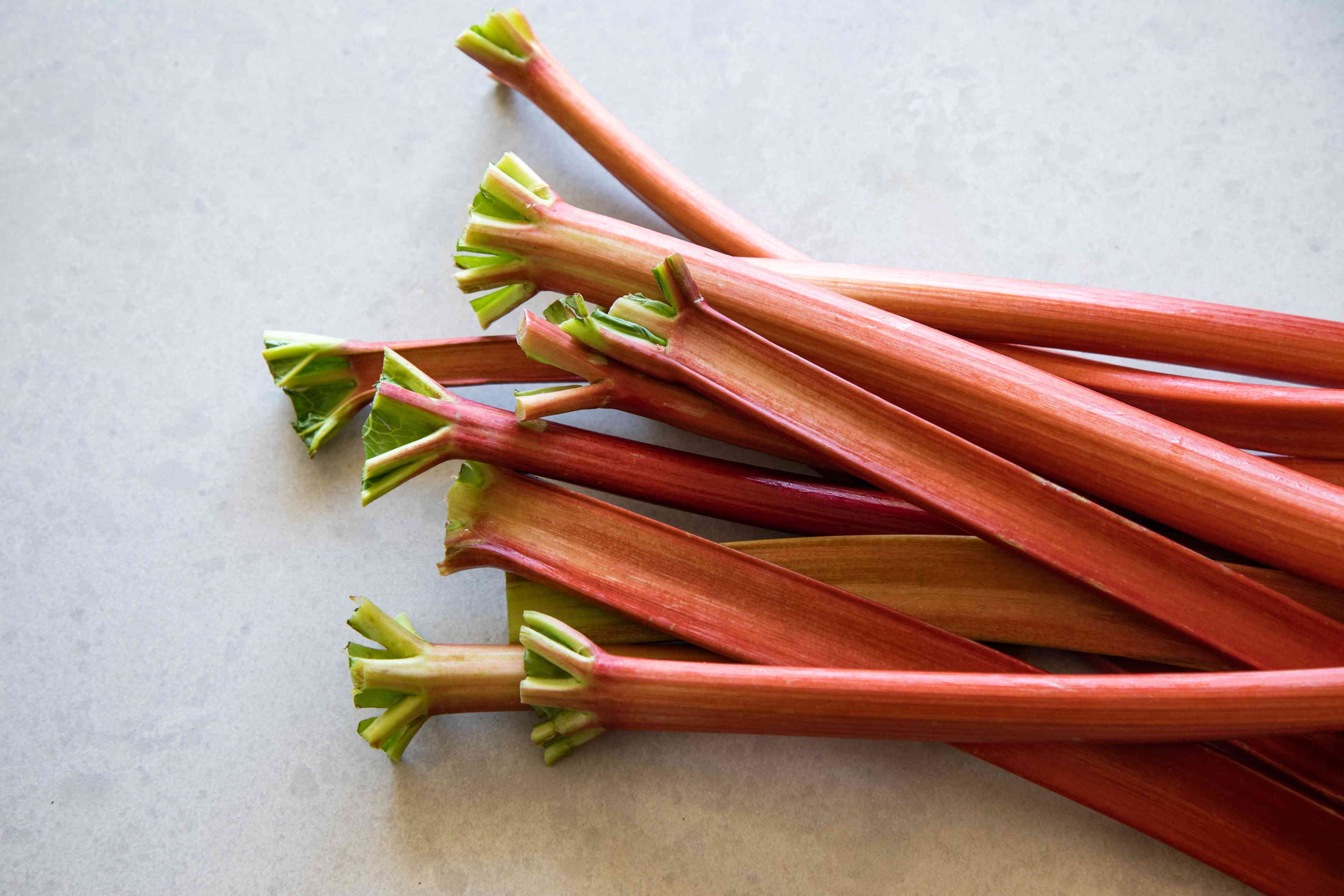 stalks of pink and green rhubarb