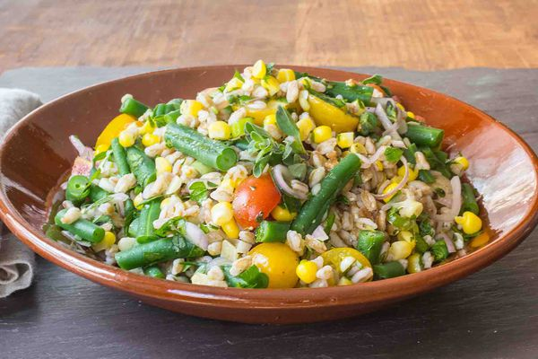Farro Salad with Corn, Green Beans, and Tomatoes