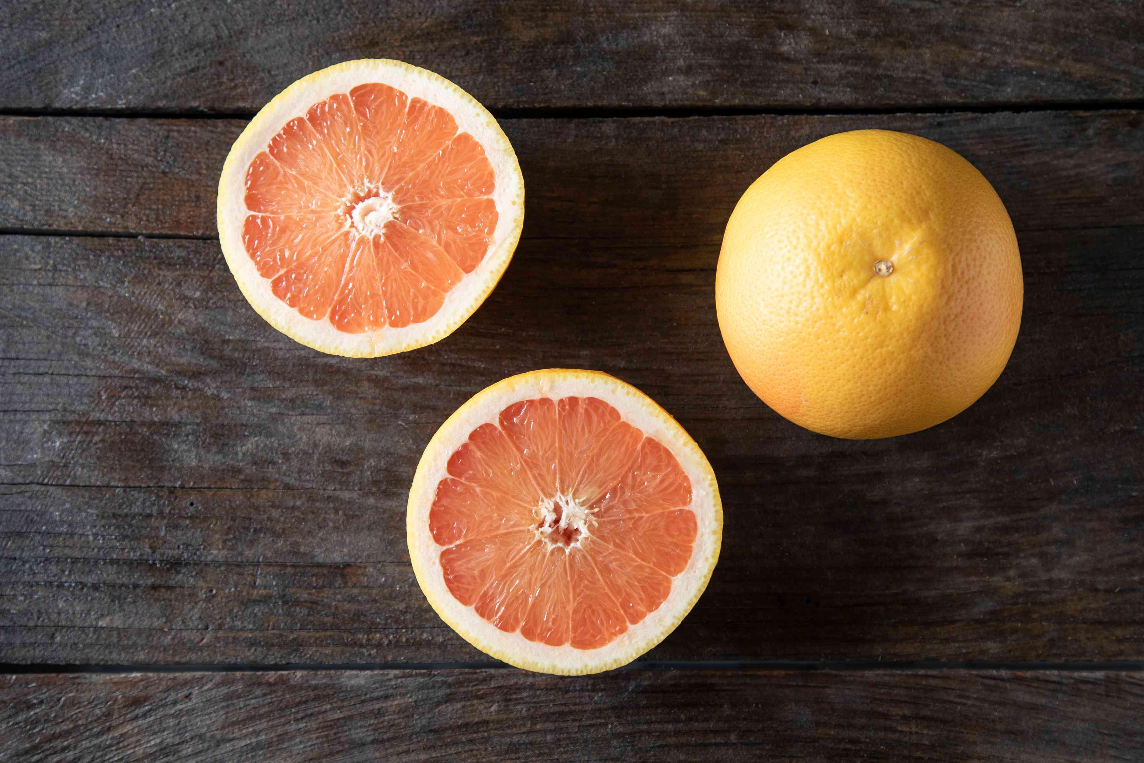 Grapefruit on dark background