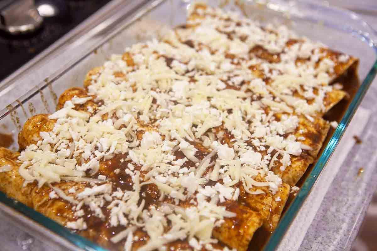 turkey black bean enchiladas in casserole dish