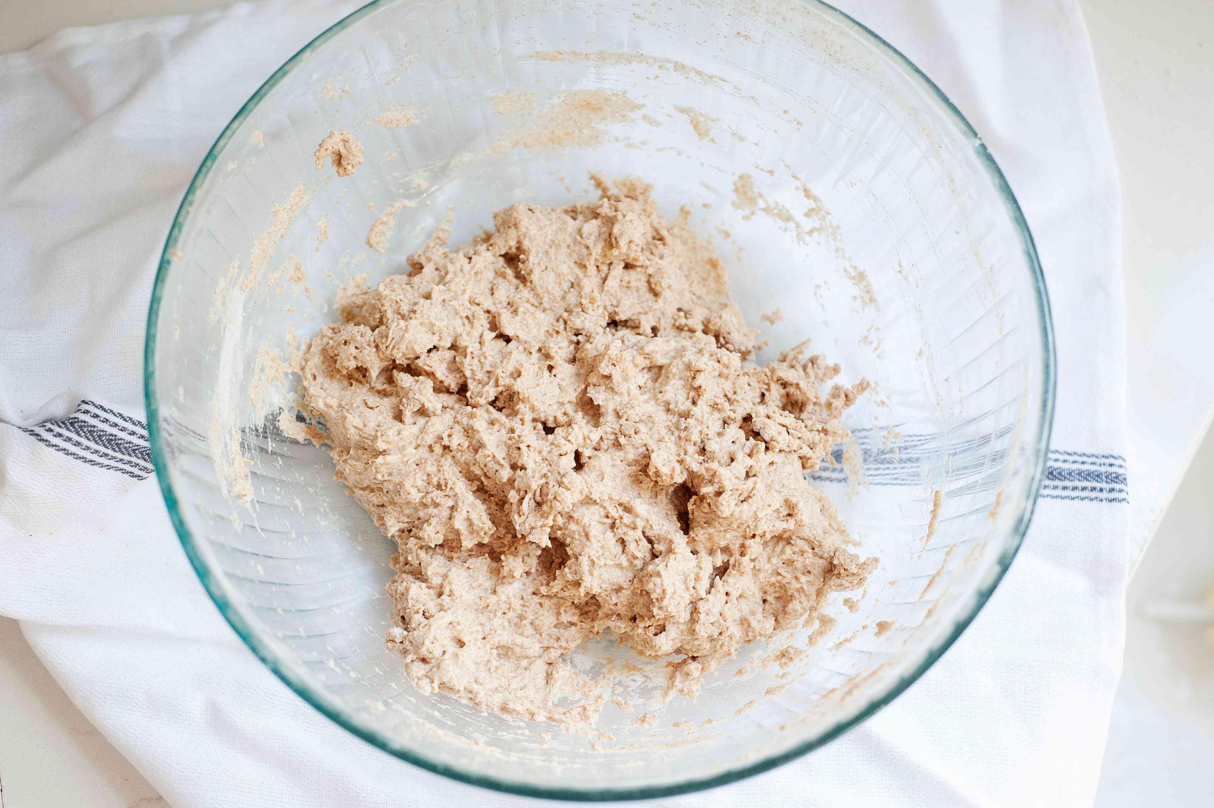 Dough in a glass bowl to make Kicha (Eritrean Flatbread).