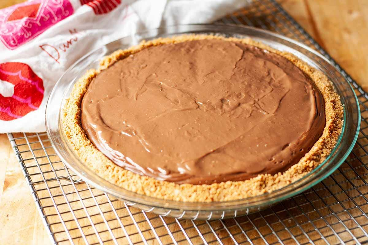 Chocolate Pie with Marshmallows chill the pie to set
