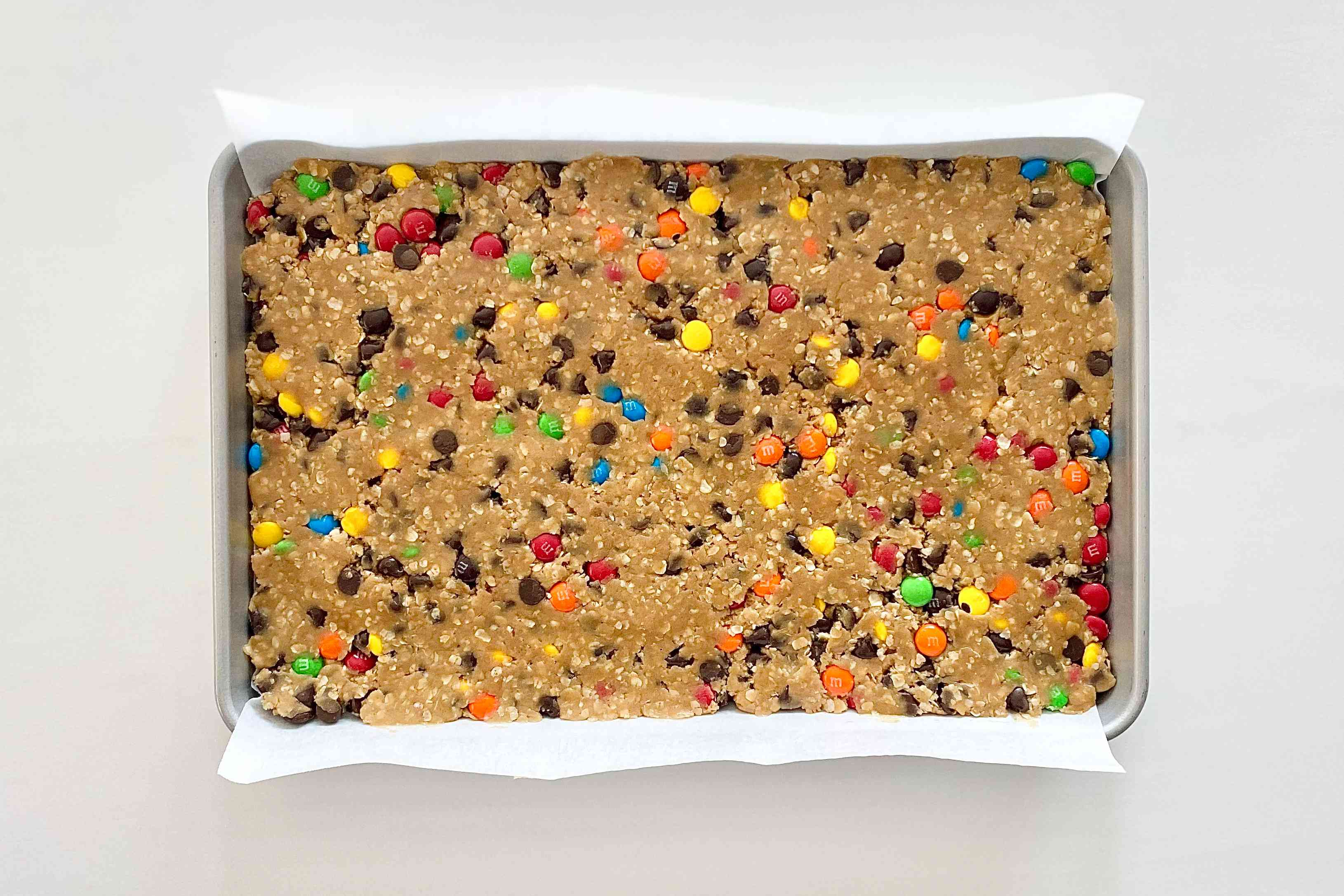 Gluten-Free Sheet Pan Monster Cookies ready to be baked.