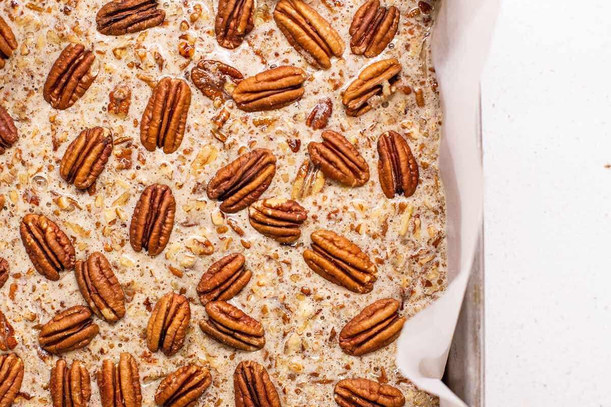 Best Ever Pecan Pie Bars add the pecans