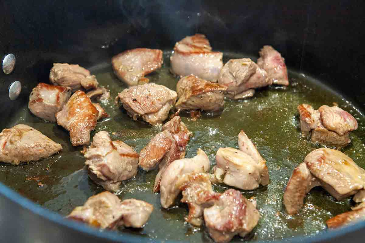 brown turkey meat for chile verde
