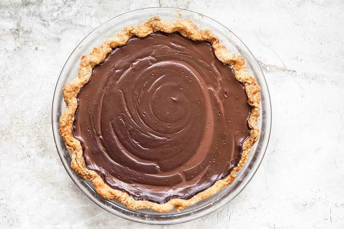 Chocolate Cream Pie filling in a crust.