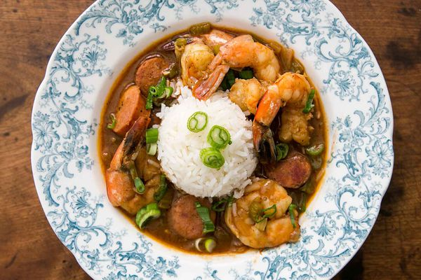 Creole Shrimp Gumbo with Andouille Sausage served in a shallow bowl