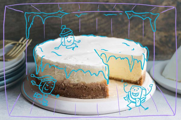 Perfect Cheesecake Illustration with blue ink drawn over it to make it look like it's frozen
