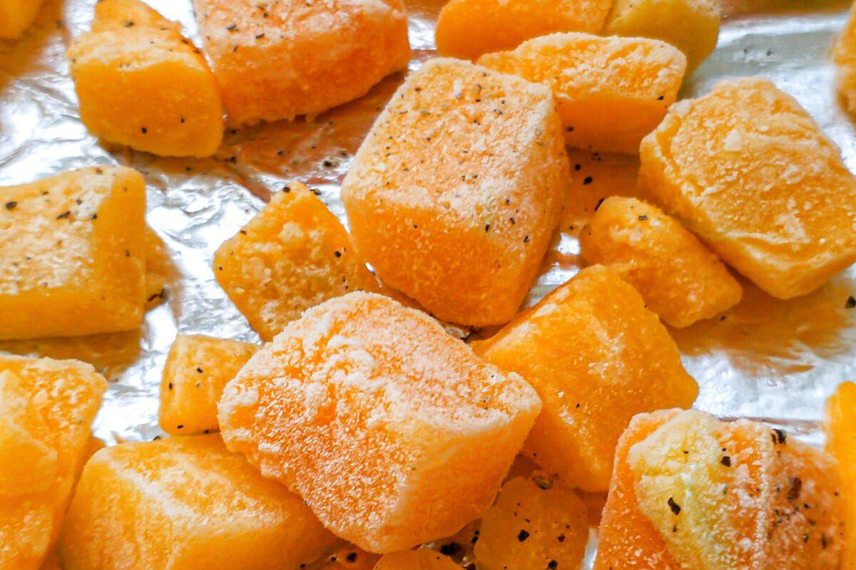 Cubes of slightly roasted butternut squash to make a Savory Pumpkin Egg Bake.
