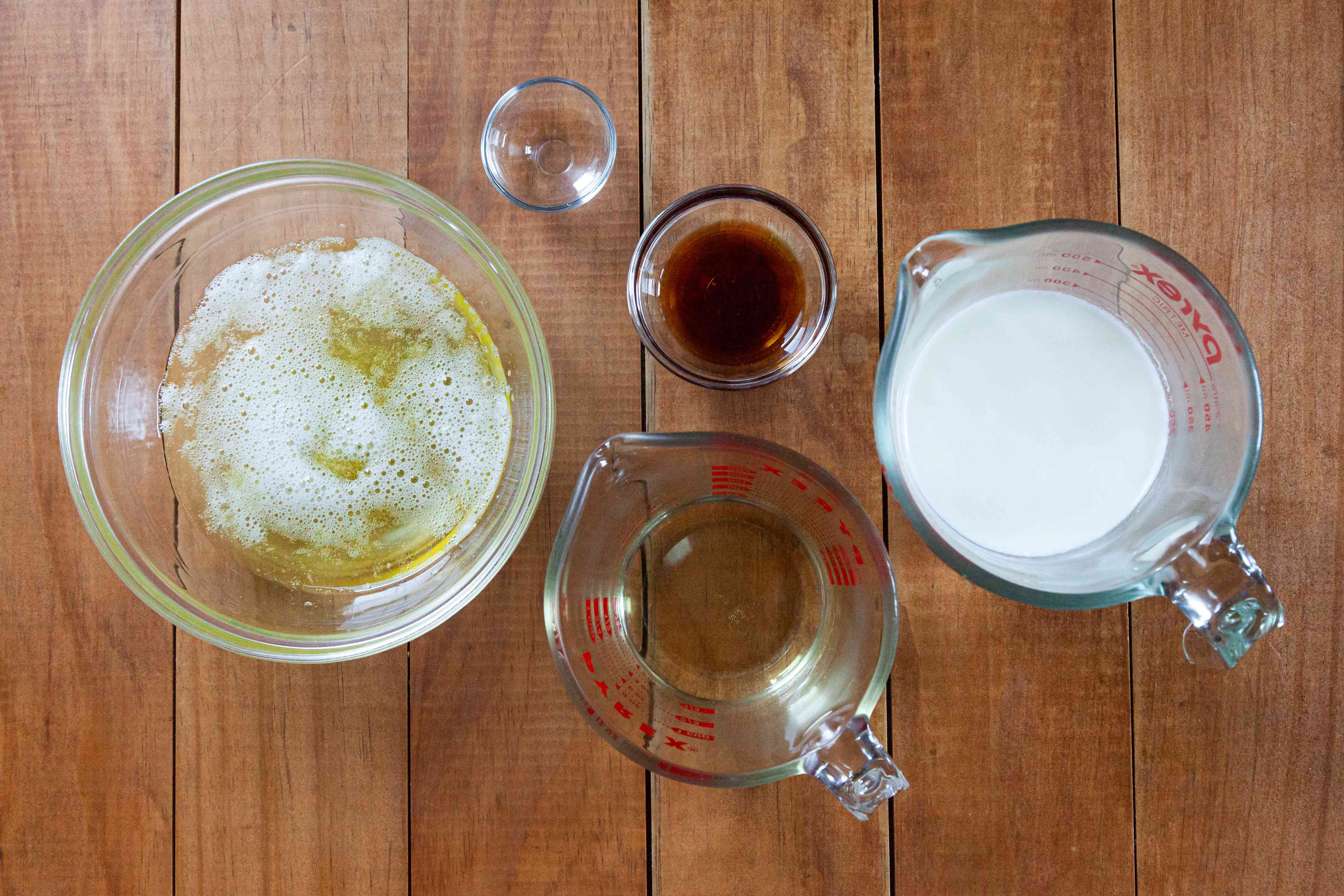 Ingredients to make the best white cake recipe.