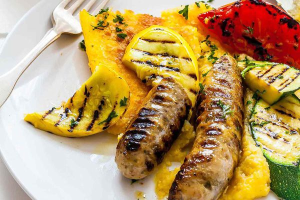 Cheesy Polenta with Grilled Sausage