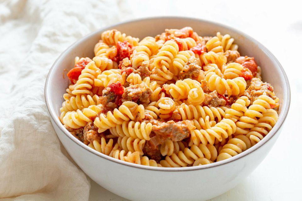 Pasta with Turkey Sausage and Smoked Mozzarella