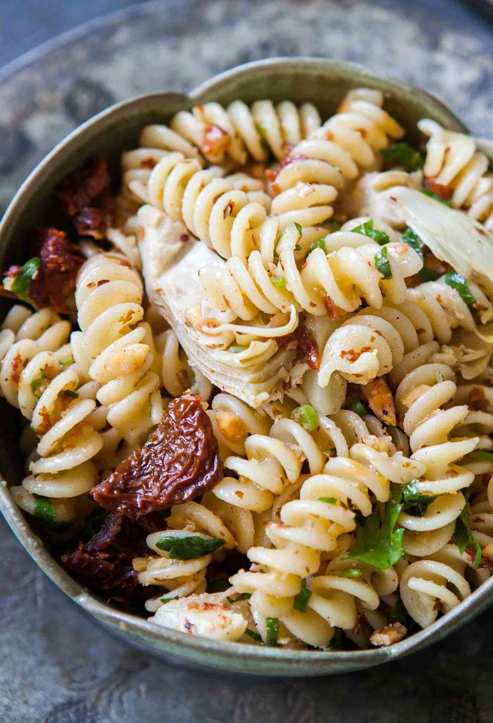 Pasta with Artichoke Hearts & Sun Dried Tomatoes