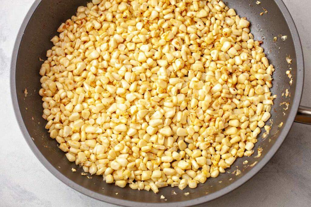 Fresh Corn Gnocchi Skillet Recipe - roasting corn in skillet