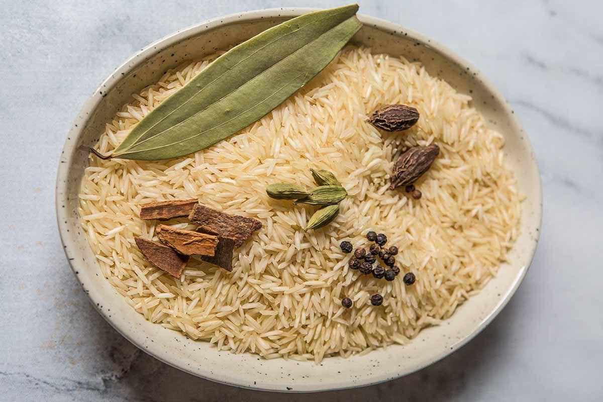Indian Biryani with Chicken prep the rice