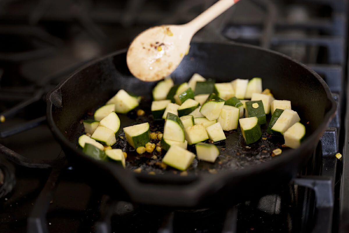 Sweet corn quesadillas cook the zucchini