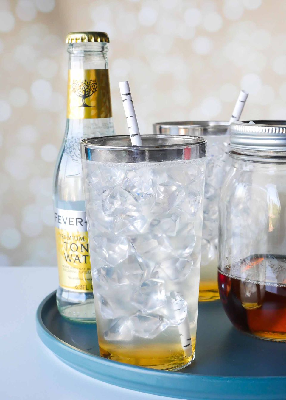 Earl gray tea and tonic syrup mocktail drink