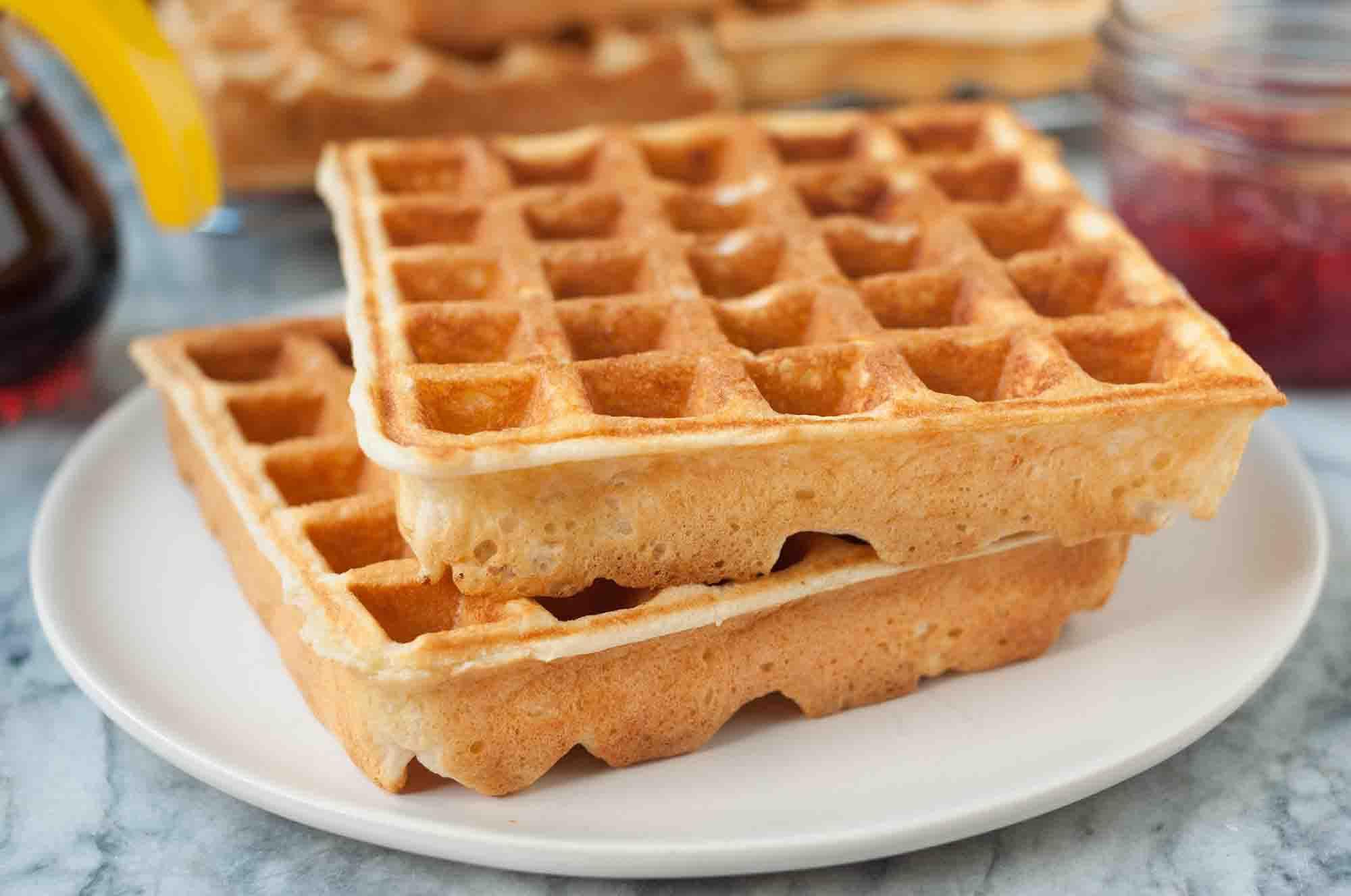 Two Crispy Waffles make from Buttermilk Waffle Recipe