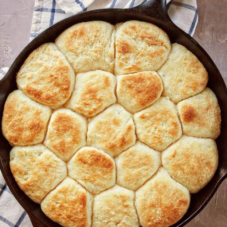 Angel biscuits in cast iron skillet