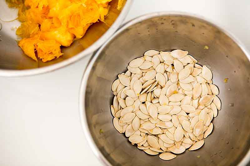 clean pumpkin seeds ready to be roasted