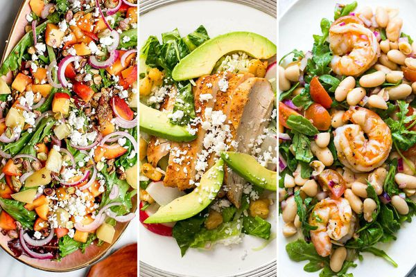 Three photos side by side of summer dinner salads. On the left is a platter of Farmers' Market Salad with Peaches, Goast Cheese, and Basil. In the center is a plate of Chicken Pozole Salad with thick wedges of avocado and sliced chicken breast in the center of the plate. On the right is Shrimp, Arugula, White Bean, and Cherry Tomato Salad with large shrimp set atop a bed of vegetables and beans.
