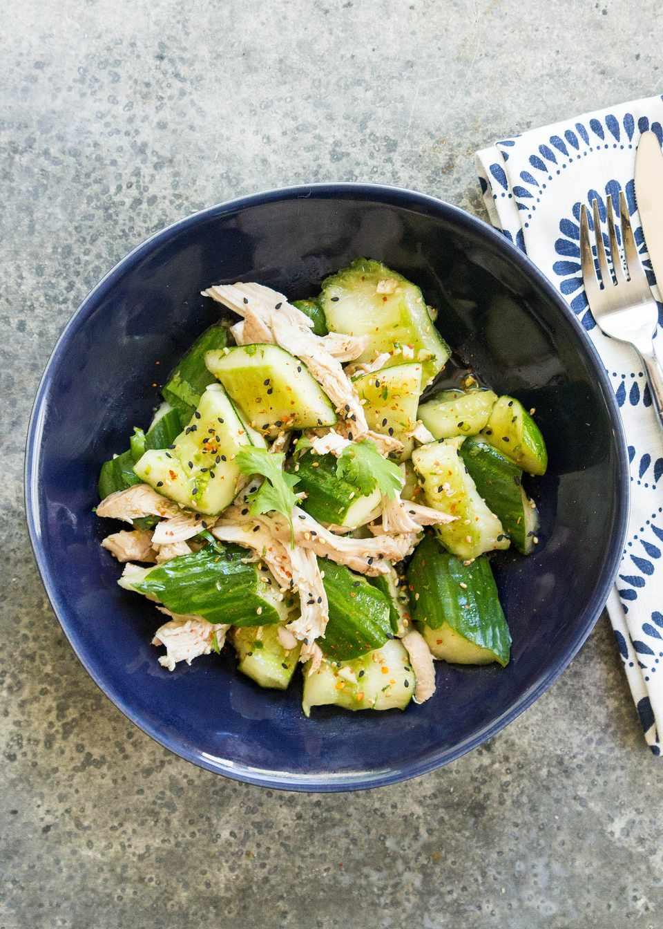 Smashed Cucumber Salad with Chicken