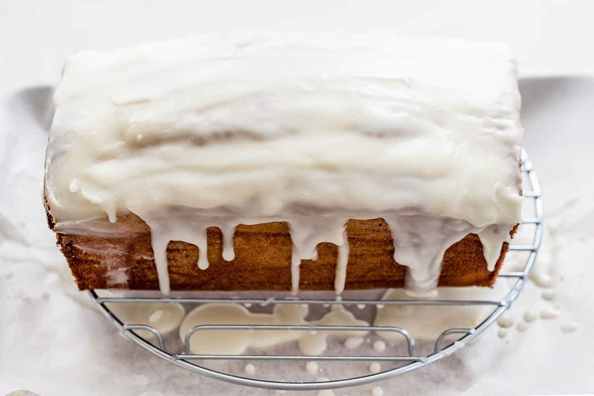 Vanilla Pound Cake in a Loaf Pan glaze the cake