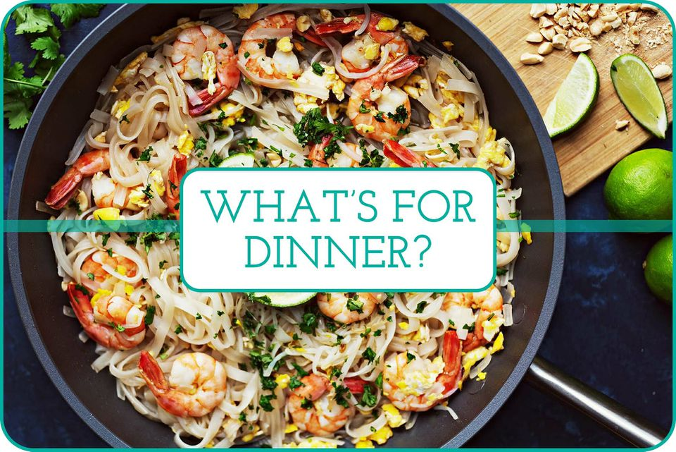 """""""What's for Dinner"""" with a skillet of shrimp pad thai behind the words."""