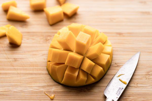 A crosscut mango fruit.