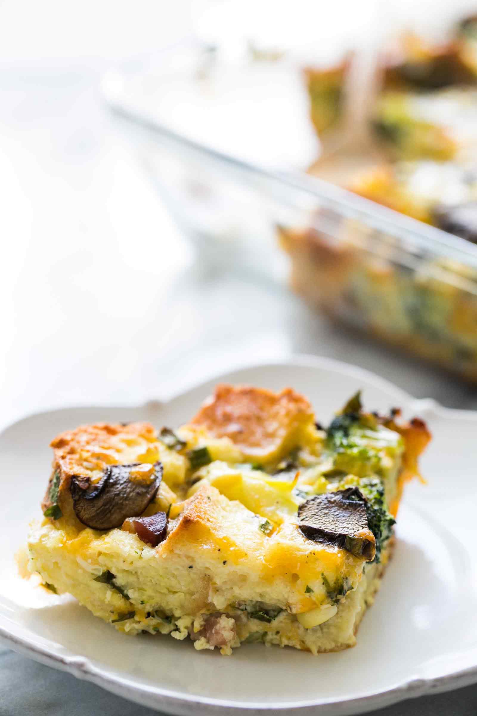 Slice of easy breakfast casserole on a plate