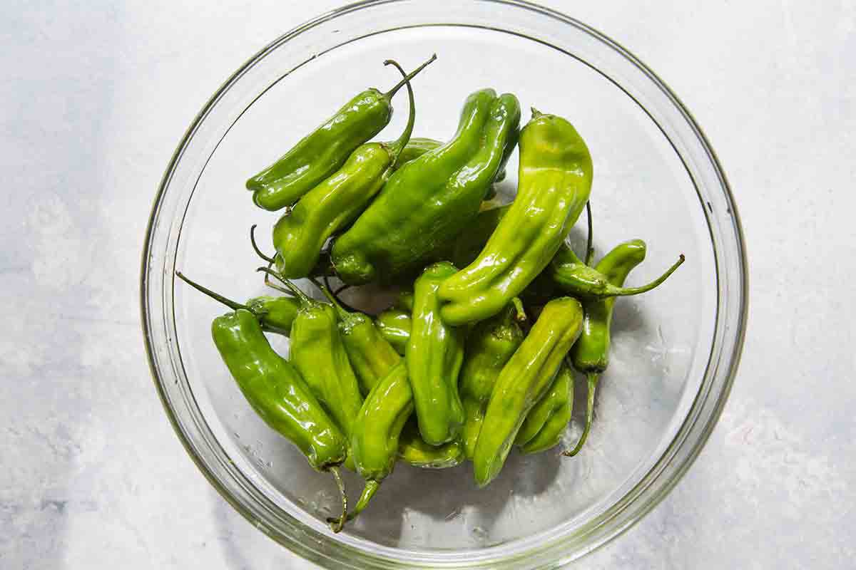 Raw shishito peppers, tossed with a little olive oil
