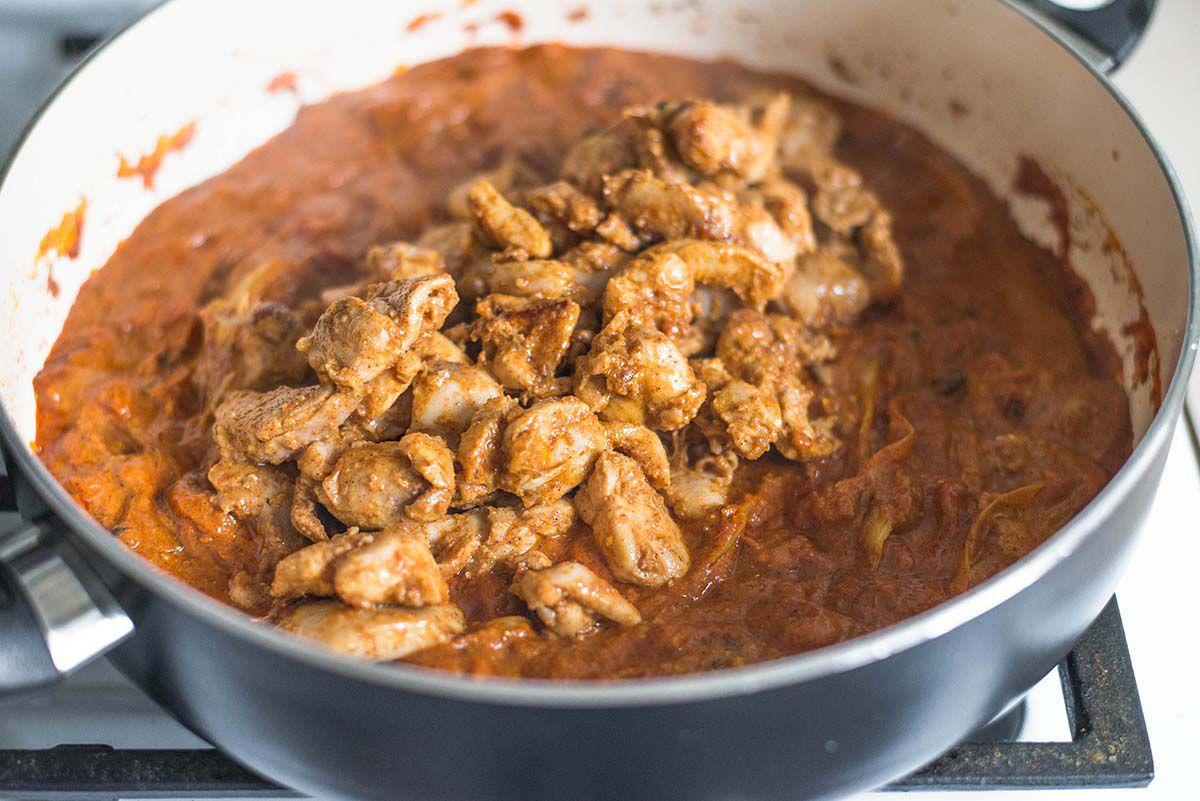 Best Chicken Tikka Masala Recipe Add the chicken to tikka masala sauce