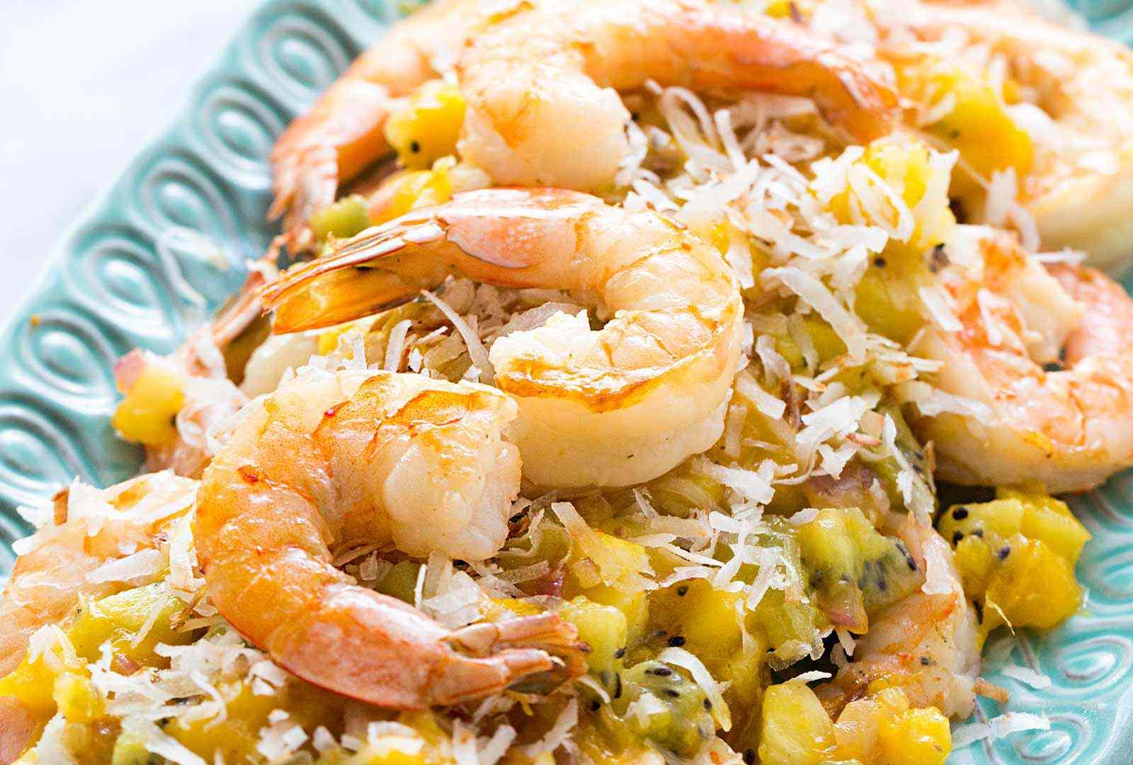 Sautéed Shrimp with Warm Tropical Salsa