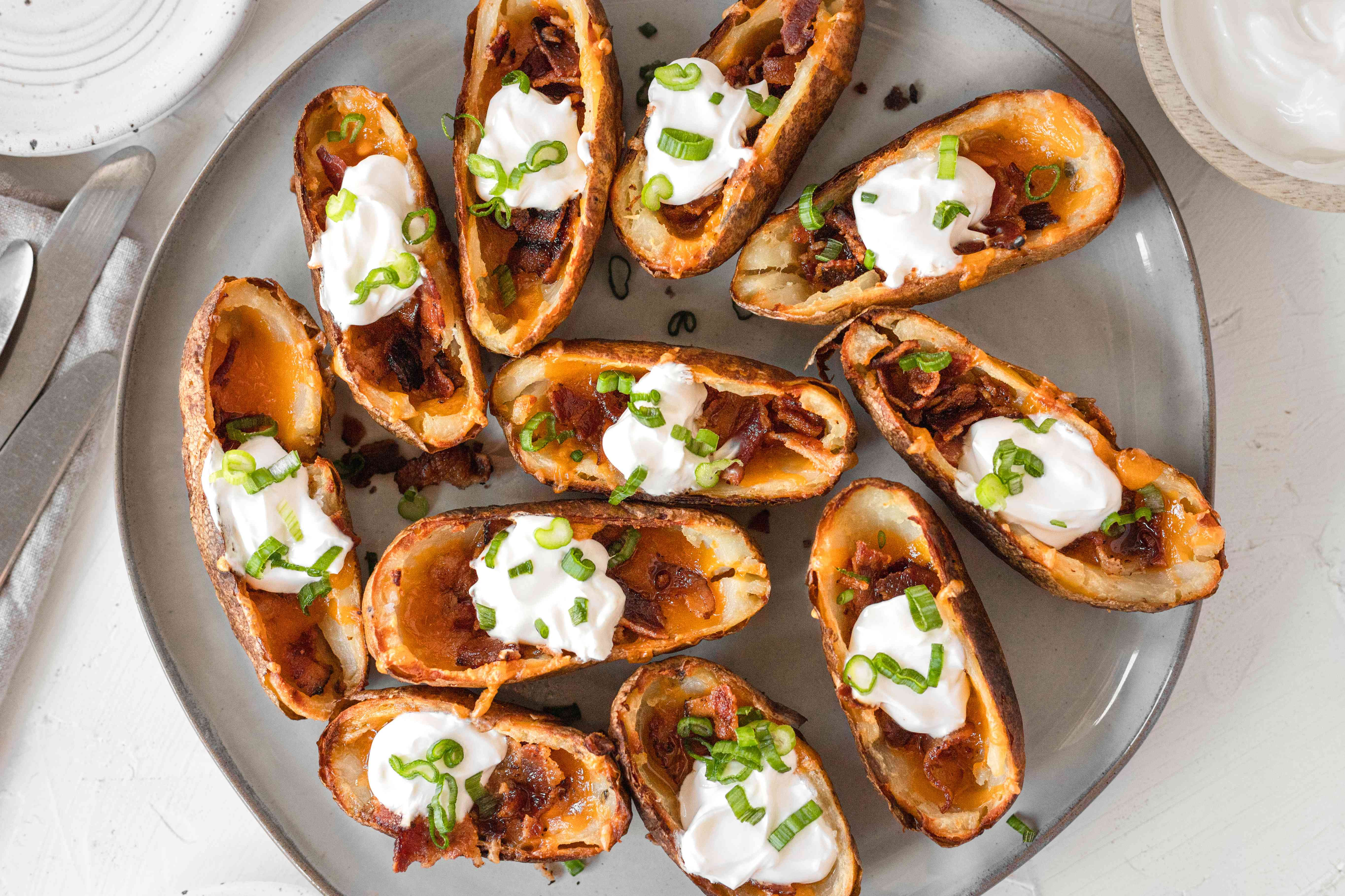 A platter of potato skins ready to be served.