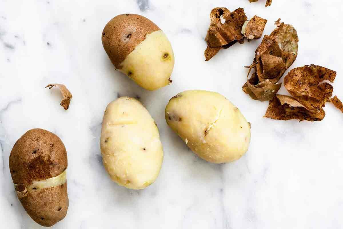 Funeral Potatoes - Remove potato skins